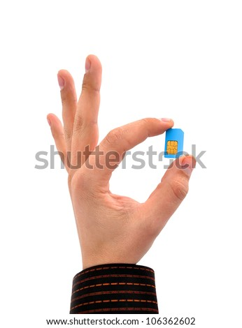 sim card in your hand on a white background