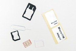 Sim card,sim card adapter, sim card eject tool for changing or removing, digital media put on white background