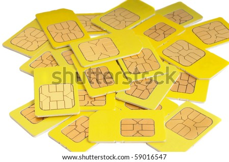 Sim cards isolated on white