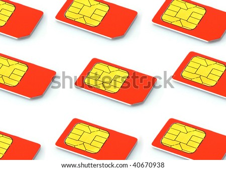 Sim cards isolated on white background lte