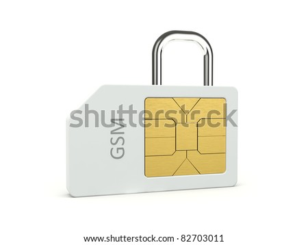 Sim cart with padlock isolated on white