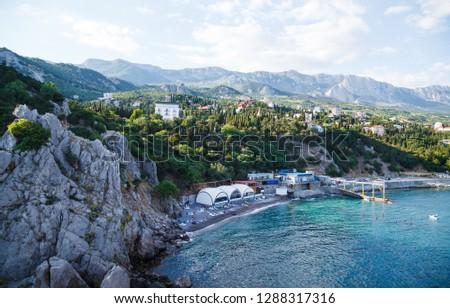 Simeiz, Crimea , View from a rock Diva at city beach
