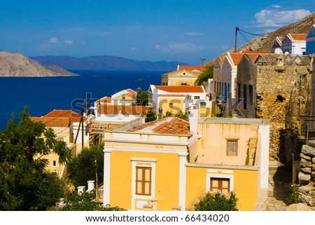 Simi island near Rhodos. Greece. View to houses and to the sea