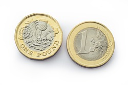 Similar coins for the monetary units of Britain and Europe