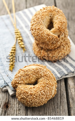 Simit - turkish style bagels in order with wheat