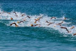 Simming athletes in a triathlon contest