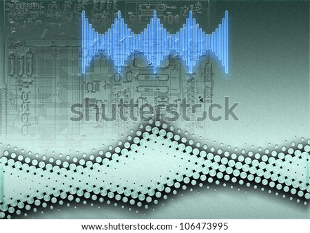 simple abstract background of halftone grey curve