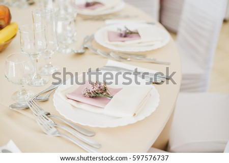 Simple and elegant table setting with lavender. Lilac and White color wedding or festive table setting.  Stock fotó ©