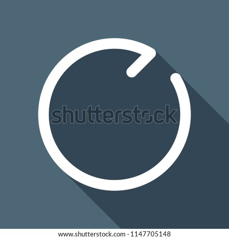 Simple arrows, update, reload, clockwise direction. Navigation icon. Simple arrow, backward. Linear symbol with thin line. One line style. White flat icon with long shadow