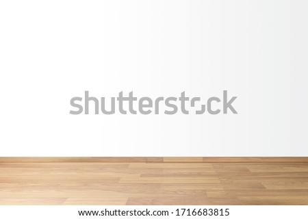Simple background with empty thick wooden and blank white wall, concept Space for relaxing in house