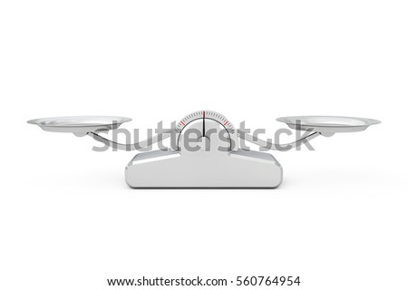 Simple Balance Scale on a white background. 3d Rendering.