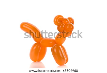 Simple balloon animal tiger cat on white