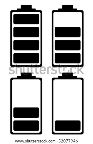 Simple battery black and white icon ideal for phone interface