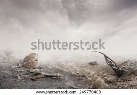 Simple beautiful surreal landscape with grass and ground on misty background
