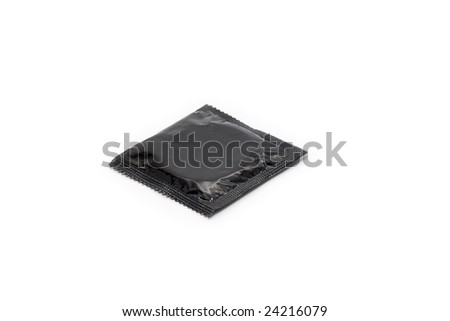 Simple black condom isolated on white background