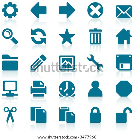 Simple blue web icons with subtle reflections, on white background