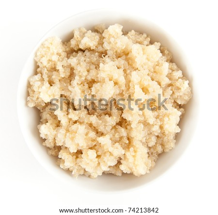 Simple Bowl of Cooked Quinoa on White Background