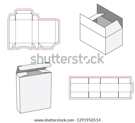 Simple box packaging die cut out template design. 3d mock-up. Template of a simple Box. Cut out of Paper or cardboard Box. Box with Die-cut