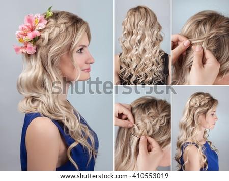 Enjoyable Simple Braid Hairstyle With Curly Hair Tutorial Romantic Evening Short Hairstyles Gunalazisus
