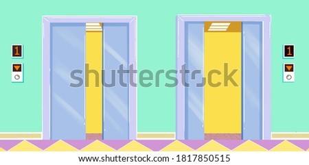 simple bright color drawing of two lifts opening their doors aat the first floor of the building Stok fotoğraf ©