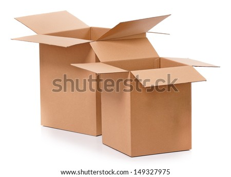 Simple brown carton boxes, isolated on white background - stock photo