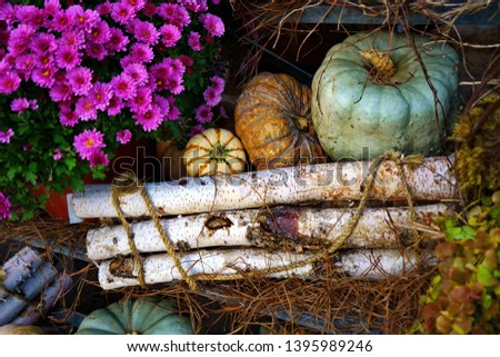 Simple but attractive pumpkin, flowers, and wood fall decorations.