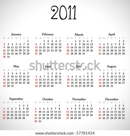 Simple calendar of 2011. Vector version available in my gallery.