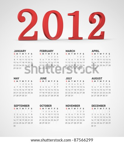 Simple 2012 calendar with 2012 written in 3d letters. Weeks starts on sunday.