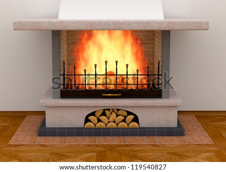Simple clean brick fireplace with a single fire log burning out to give heat