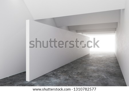 Foto mural Simple concrete interior with copy space on wall and creative lighting. Design concept. Mock up, 3D Rendering