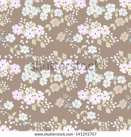 Simple cute pattern in small-scale flowers. Millefleurs. Liberty style. Floral seamless shabby chic background for textile, manufacturing, wallpapers, print, gift wrap and scrapbooking. Raster copy