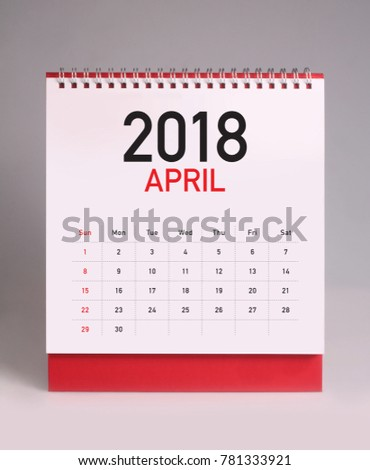 Simple desk calendar for April 2018 #781333921