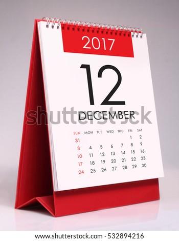 Simple desk calendar for December 2017