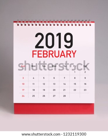 Simple desk calendar for February 2019