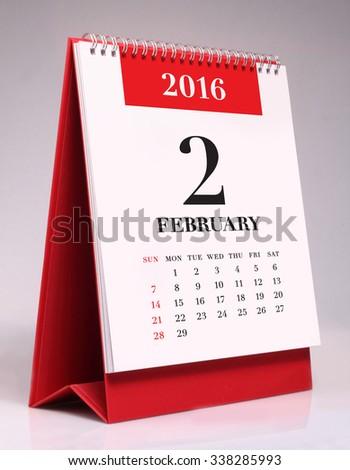 Simple desk calendar for February 2016