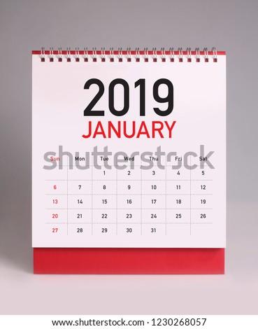 Simple desk calendar for January 2019 #1230268057