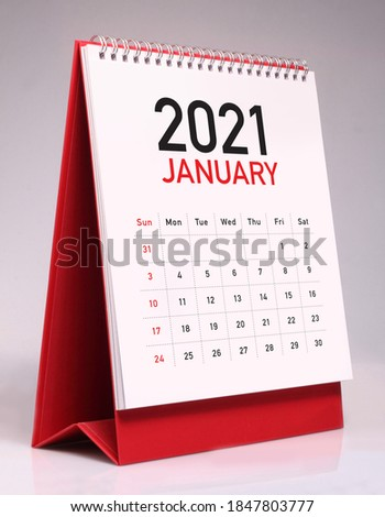 Simple desk calendar for January 2021