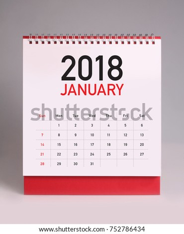 Simple desk calendar for January 2018 #752786434