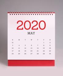 Simple desk calendar for May 2020