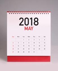 Simple desk calendar for May 2018