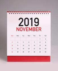Simple desk calendar for november 2019