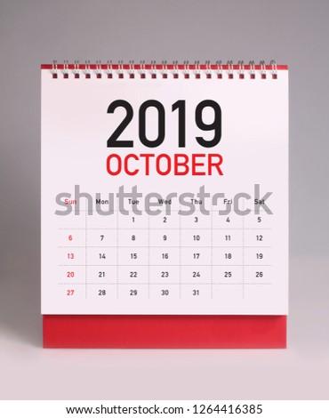 Simple desk calendar for October 2019 #1264416385