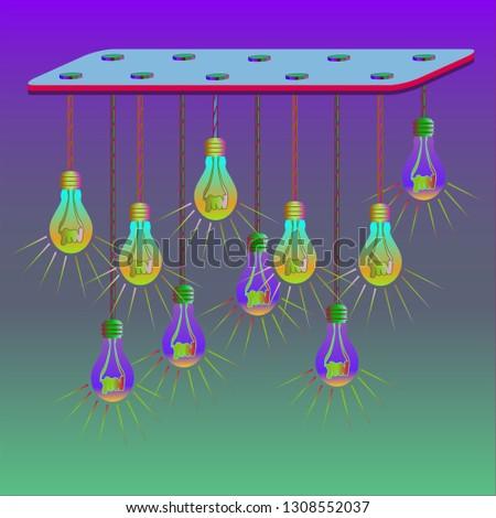Simple diagonal amazing multicolored magic lightbulb.