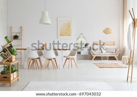 Simple dining room and minimalist living room in white lagom loft #697043032