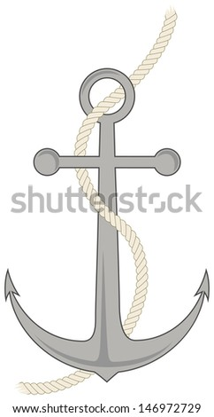 Simple Anchor with Rope Drawing