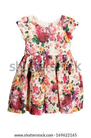 Simple dress with a floral pattern. Isolate on white.