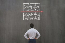 simple easy fast solution concept, problem solving, business man thinking about exit from complex labyrinth maze