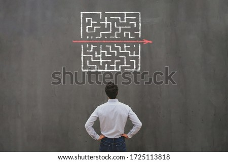 simple easy fast solution concept, problem solving, business man thinking about exit from complex labyrinth maze ストックフォト ©