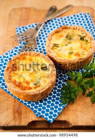 Simple Eggs, Onions, and Cheese Individual Mini Quiches