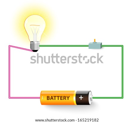 simple electric circuit. Electrical network. switch, light bulb, wire and battery.
